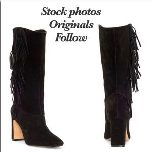 Vince Camuto Black Fringe Suede leather tall boot